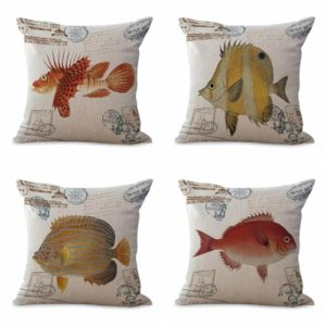 Set of 4 cushion covers beach coastal seahorse turtle sea life fish We will randomly choose various designs shown on the pictures. Pillow case only, insert is not included.