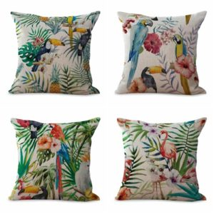 cushion covers bird toucan flamingo hibiscus flower We will randomly choose various designs shown on the pictures. Pillow case only, insert is not included.