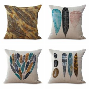 cushion covers American native feather We will randomly choose various designs shown on the pictures.Pillow case only, insert is not included.