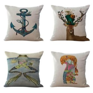 cushion covers animal fox frog horse deer We will randomly choose various designs shown on the pictures. Pillow case only, insert is not included.