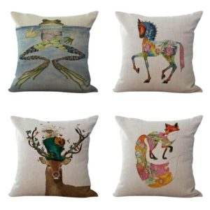 cushion covers cat fox frog horse squirrel animal We will randomly choose various designs shown on the pictures.Pillow case only, insert is not included.