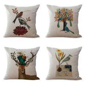 cushion covers vintage anchor deer bird boat We will randomly choose various designs shown on the pictures.Pillow case only, insert is not included.
