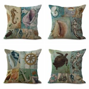 cushion covers marine starfish conch shell nautical We will randomly choose various designs shown on the pictures.Pillow case only, insert is not included.