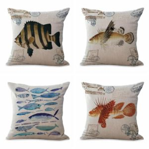 cushion covers sea life fish We will randomly choose various designs shown on the pictures. Pillow case only, insert is not included.