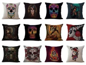 wholesale cushion covers Dia de Los Muertos sugar skull death We will randomly choose various designs shown on the pictures.Pillow case only, insert is not included.
