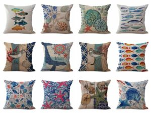 cushion covers ocean underwater animal fish dolphin turtle We will randomly choose various designs shown on the pictures.Pillow case only, insert is not included.