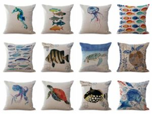 wholesale cushion covers sea life seahorse fish dolphin turtle We will randomly choose various designs shown on the pictures. Pillow case only, insert is not included.