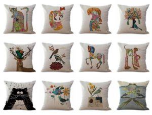 wholesale cushion covers animal cat frog bird dog deer We will randomly choose various designs shown on the pictures. Pillow case only, insert is not included.