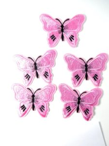 pink butterfly cloth embroidered patches