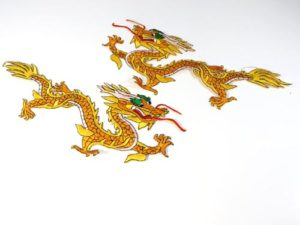"golden yellow Chinese dragon pair 12"" cloth embroidered patches"