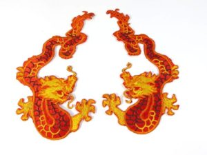 golden red Chinese dragon pair cloth embroidered patches