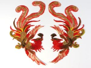 """golden red phoenix pair cloth embroidered patches sequins 10"""""""