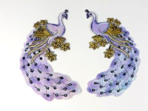purple peacock pair cloth embroidered patches
