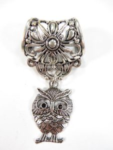owl pendant slide set Jewelry findings for DIY scarves with jewelry / necklace scarf accessory Each set include one pendant and one slide tube (connected together by a jump ring) with antique silver finishing.