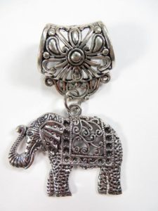 good luck elephant pendant slide set Jewelry findings for DIY scarves with jewelry / necklace scarf accessory Each set include one pendant and one slide tube (connected together by a jump ring) with antique silver finishing.