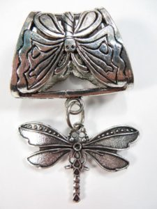 dragonfly pendant slide set Jewelry findings for DIY scarves with jewelry / necklace scarf accessory Each set include one pendant and one slide tube (connected together by a jump ring) with antique silver finishing.