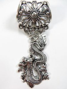 Chinese dragon pendant slide set Jewelry findings for DIY scarves with jewelry / necklace scarf accessory Each set include one pendant and one slide tube (connected together by a jump ring) with antique silver finishing.