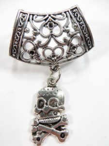 skull cross bone pendant slide set Jewelry findings for DIY scarves with jewelry / necklace scarf accessory Each set include one pendant and one slide tube (connected together by a jump ring) with antique silver finishing.