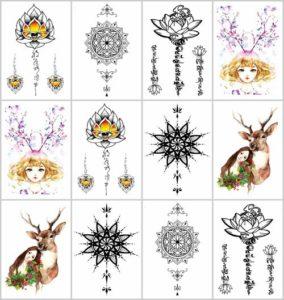 "deer flower medallion 7.5"" temporary tattoo"