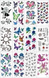 butterfly rose temporary tattoo
