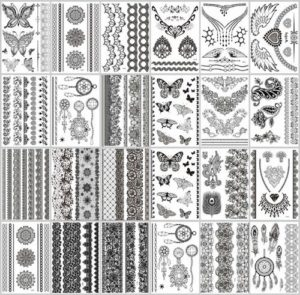 Mixed designs black lace boho temporary tattoo Our warehouse staffs will randomly choose assorted designs.Sexy and cool designs such as anklet, armband, bracelet, wrist band, boho floral, retro vintage wide lace, mandala, paisley, dreamcatcher, butterfly, necklace, angel wing, and more.