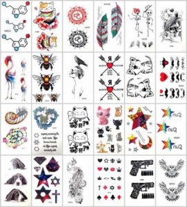 Mixed designs elephant G-dragon temporary tattoo Our warehouse staffs will randomly choose assorted designs. Sexy and cool designs such as om, feather, cat koi carp fish Ganesha moon start, arrow, elephant, G-dragon, cross, and more.