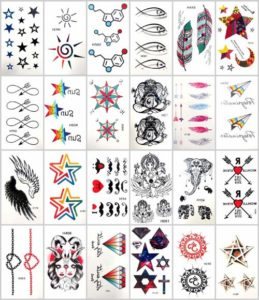 Mixed designs fish infinity mandala temporary tattoo Our warehouse staffs will randomly choose assorted designs. Sexy and cool designs such as sugar skull, cross, Ganesha, fish infinity mandala medallion bleeding witch angel wing, cross and more.