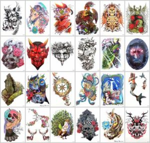 sugar skull carp koi large arm tattoo Our warehouse staffs will randomly choose assorted designs shown on the pictures. Sexy and cool designs such as black totem Halloween devil evil sugar skull carp koi fish wave mermaid phoenix owl and more.