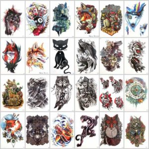 large arm tattoo Our warehouse staffs will randomly choose assorted designs shown on the pictures. Sexy and cool designs such as black totem carp koi fish wave animal fox wolf bear animals Halloween devil evil sugar skull owl and more.