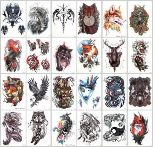 eagle bear fox wolf large arm tattoo Our warehouse staffs will randomly choose assorted designs shown on the pictures. Sexy and cool designs such as black totem Halloween devil evil sugar skull owl moose eagle bear fox wolf carp koi fish wave and more.