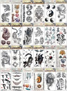 Halloween men tiger spider temporary tattoo Our warehouse staffs will randomly choose assorted designs shown on the pictures.Sexy and cool designs such as Halloween tiger yinyang snake scorpio spider and more.