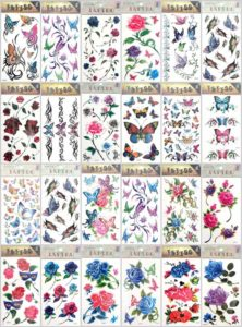 rose flower heart butterfly temporary tattoo Our warehouse staffs will randomly choose assorted designs shown on the pictures. Sexy and cool designs such as heart rose sun flower moon butterfly and more.