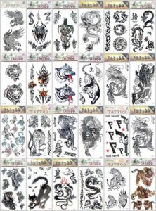 Halloween dragon cat tiger temporary tattoo Our warehouse staffs will randomly choose assorted designs shown on the pictures. Sexy and cool designs such as black totem Halloween Asian dragon cat tiger gun koi carp fish wolf scorpio and more.