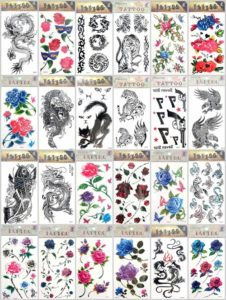 rose flower heart butterfly temporary tattoo Our warehouse staffs will randomly choose assorted designs shown on the pictures. Sexy and cool designs such as c rose sun flower butterfly Sexy and cool designs such as black totem Halloween Asian dragon cat tiger gun koi carp fish wolf scorpio and more.