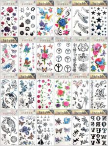 rose alphabet butterfly temporary tattoo Our warehouse staffs will randomly choose assorted designs shown on the pictures. Sexy and cool designs such as Halloween skull sleleton retro cross, peace sign, high heel, sun flower moon butterfly, heart rose, feather, alphabet letters, dolphin and more.