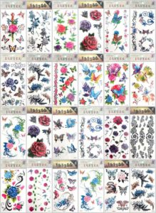 rose flower heart butterfly temporary tattoo Our warehouse staffs will randomly choose assorted designs shown on the pictures.Sexy and cool designs such as heart rose sun flower moon butterfly and more.