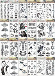 angel wing bohemian temporary tattoo Our warehouse staffs will randomly choose assorted designs shown on the pictures. Sexy and cool designs such as Halloween skull sleleton retro cross, lover's tears, tramp stamp, love writing, angel wing, bohemian floral, tribal dolphin, heart rose sun flower moon butterfly and more.