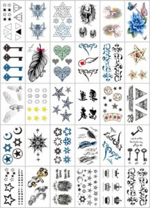 feather keys stars temporary tattoo