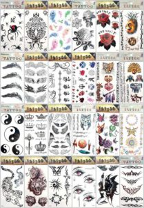 Halloween men guys boys temporary tattoo Our warehouse staffs will randomly choose assorted designs shown on the pictures. Sexy and cool designs such as Halloween skull sleleton retro cross, lover's tears, tramp stamp, love writing, angel wing, bohemian floral, tribal dolphin, heart rose sun flower moon butterfly, men guy boys girls black totem Halloween Asian dragon spider snake cobra cat tiger gun koi carp fish wolf scorpio and more.