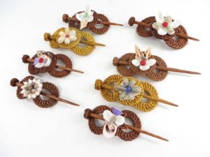 Bali Handmade Rattan Hair Pin Barrette Slide Clasp Clip Handmade in Bali, Indonesia.