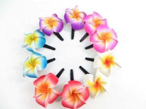 hairclip pairs with handpainted foam plumeria frangipani flower Handmade in Bali, Indonesia.