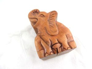 elephant wooden puzzle trinket box jewelry box with secret compartment and hidden openings Handmade in Bali, Indonesia.