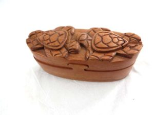 turtle couple wooden puzzle trinket box jewelry box with secret compartment and hidden openings Handmade in Bali, Indonesia.