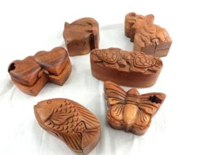 wooden puzzle trinket boxs jewelry box with secret compartment and hidden openings Handmade in Bali, Indonesia.