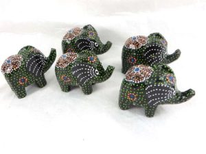 set of 5 mini elephant woodcarvings Handmade in Bali, Indonesia.