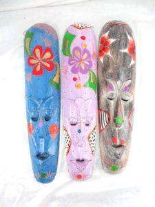 floral pastel handpainted Balinese mask Handmade in Bali, Indonesia.