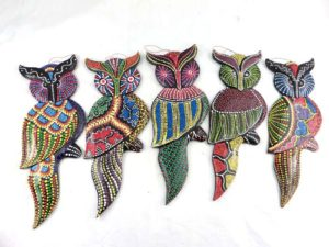 thousand dots handpainted owl woodcarving Handmade in Bali, Indonesia.
