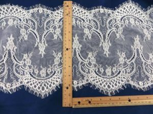 3 meters lace trim eyelash fabric vintage venice French Chantilly style white 29cm wide double eyelash edges, great for DIY sewing sexy lingeria, lace caps, skirt dress, bridal wedding dress, craft making