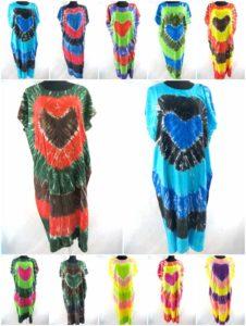 wholesale tie dye long kaftan poolside beachwear We will randomly pick assorted designs. Made of 100% rayon, handmade in Bali Indonesia