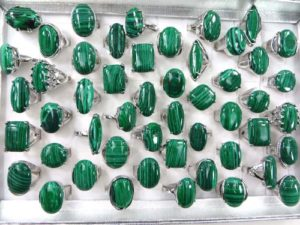 chunky green malachite fashion rings